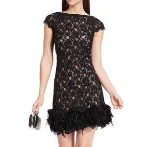 Jessica Simpson Black Lace Dress with Feather Hem